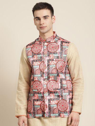Sojanya (Since 1958), Men's Silk Blend Peach Printed ONLY Nehru Jacket