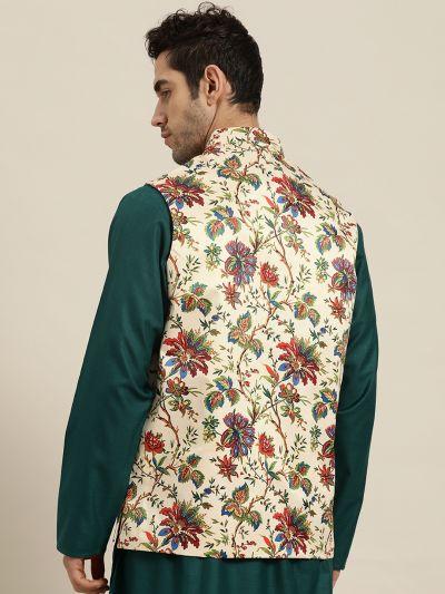 Sojanya (Since 1958), Men's Silk Blend Fawn Printed ONLY Nehru Jacket