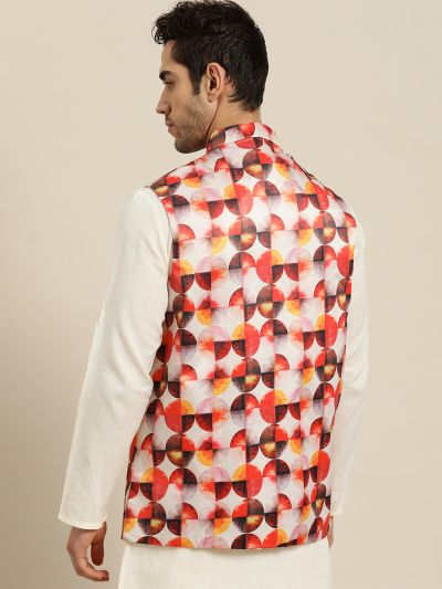 Sojanya (Since 1958), Men's Silk Blend Off white Printed ONLY Nehru Jacket