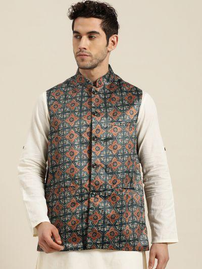 Sojanya (Since 1958), Men's Silk Blend Botell Green Printed ONLY Nehru Jacket