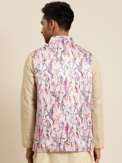 Sojanya (Since 1958), Men's Silk Blend Pink Printed ONLY Nehru Jacket