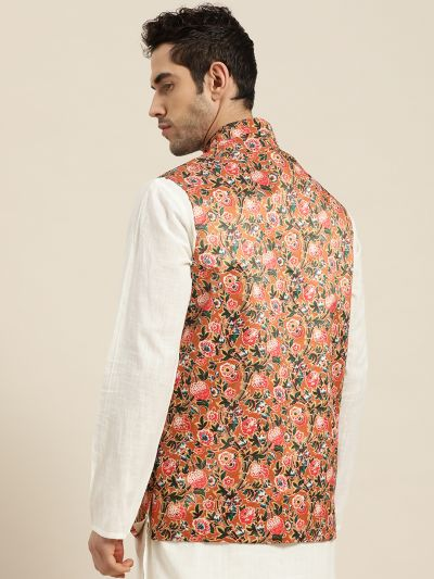 Sojanya (Since 1958), Men's Silk Blend Tan Printed ONLY Nehru Jacket