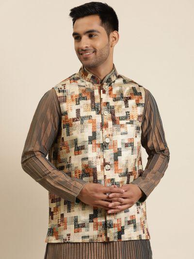 Sojanya (Since 1958), Men's Silk Blend Beige Printed ONLY Nehru Jacket