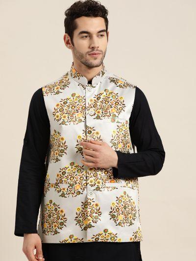 Sojanya (Since 1958), Men's Silk Blend Light Grey Printed ONLY Nehru Jacket