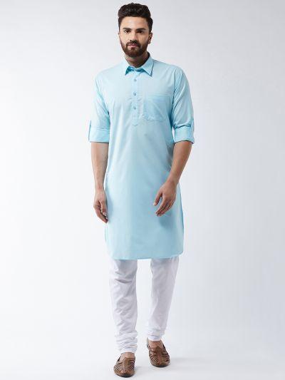Sojanya (Since 1958) Men's Cotton Sky Blue Solid Pathani Kurta & White Churidar Pyjama Set