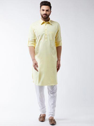 Sojanya (Since 1958) Men's Cotton Lemon Solid Pathani Kurta & White Churidar Pyjama Set