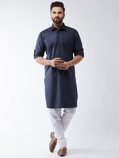 Sojanya (Since 1958) Men's Cotton Navy Blue Solid Pathani Kurta & White Churidar Pyjama Set