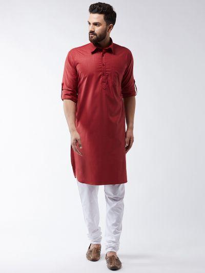 Sojanya (Since 1958) Men's Cotton Maroon Solid Pathani Kurta & White Churidar Pyjama Set