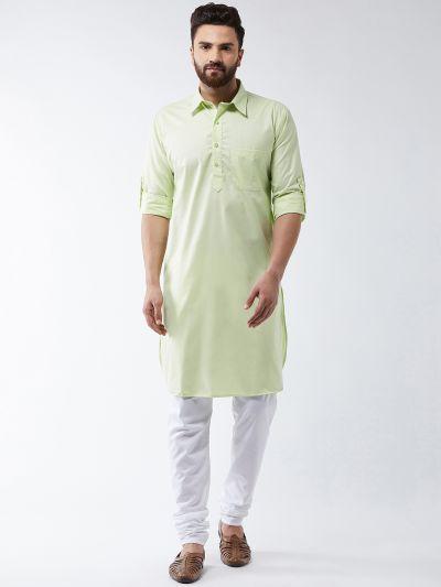 Sojanya (Since 1958) Men's Cotton Light Green Solid Pathani Kurta & White Churidar Pyjama Set