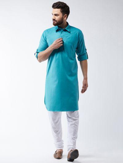 Sojanya (Since 1958) Men's Cotton Peacock Blue Solid Pathani Kurta & White Churidar Pyjama Set