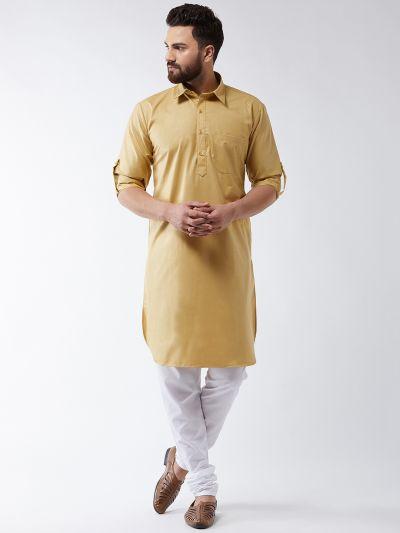 Sojanya (Since 1958) Men's Cotton Gold Solid Pathani Kurta & White Churidar Pyjama Set
