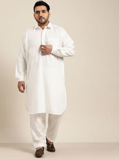 Sojanya (Since 1958), Men's Cotton Cream Pathani Kurta Salwar Set