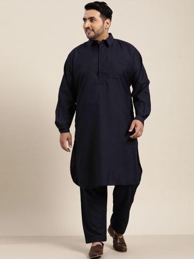 Sojanya (Since 1958), Men's Cotton Navy Blue Pathani Kurta Salwar Set