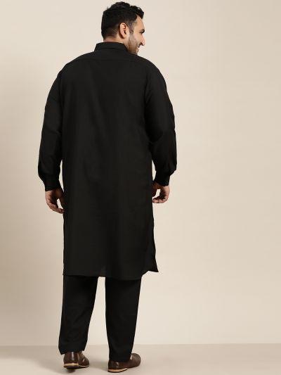 Sojanya (Since 1958), Men's Cotton Black Pathani Kurta Salwar Set