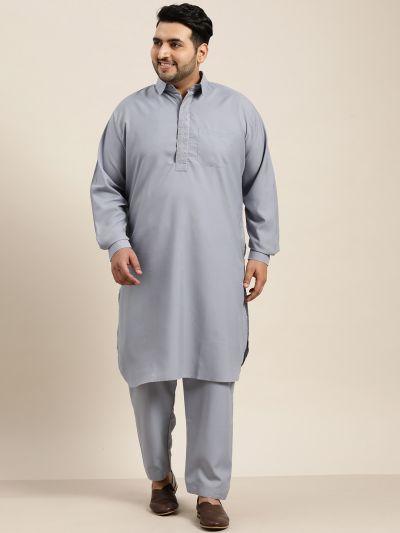 Sojanya (Since 1958), Men's Cotton Grey Pathani Kurta Salwar Set