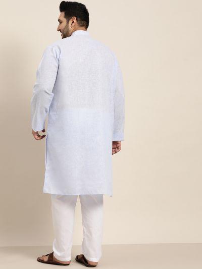 Sojanya (Since 1958), Men's Cotton Linen Sky Blue Kurta and White Churidar Pyjama Set
