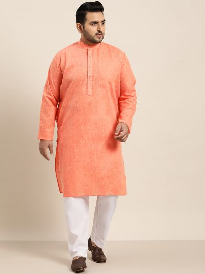 Sojanya (Since 1958), Men's Cotton Linen Orange Kurta and White Churidar Pyjama Set