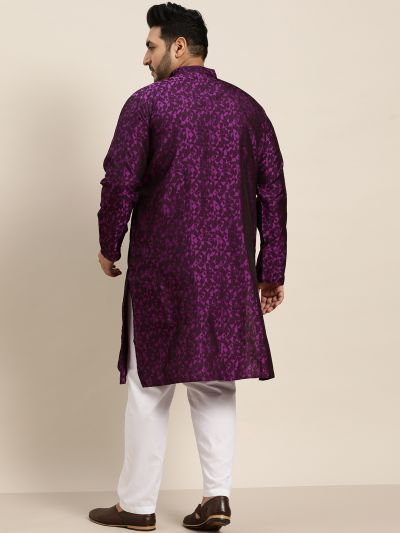 Sojanya (Since 1958), Men's Silk Blend Violet Kurta & Off-White Churidar Pyjama Set