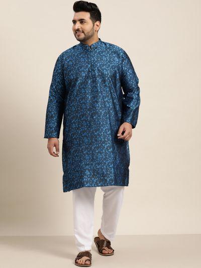 Sojanya (Since 1958), Men's Silk Blend Royal Blue Kurta & Off-White Churidar Pyjama Set