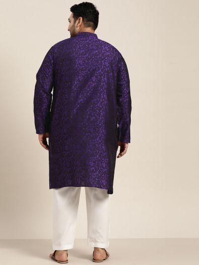 Sojanya (Since 1958), Men's Silk Blend Purple Kurta & Off-White Churidar Pyjama Set