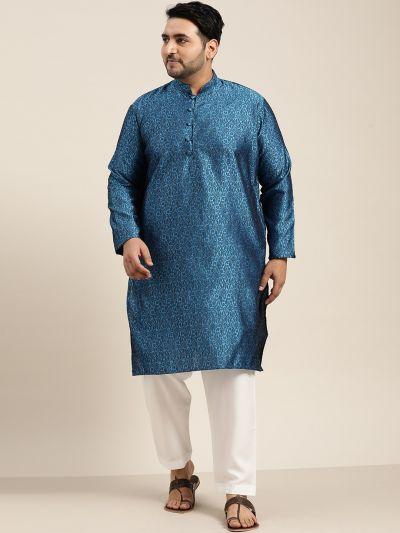 Sojanya (Since 1958), Men's Silk Blend Blue Kurta and Off White Churidar Pyjama Set