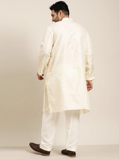 Sojanya (Since 1958), Men's Silk Blend Cream Kurta and Off White Churidar Pyjama Set