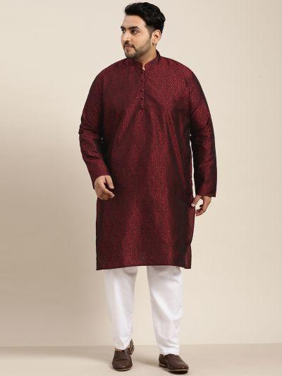 Sojanya (Since 1958), Men's Silk Blend Maroon Kurta and Off-White Churidaar Pyjama Set