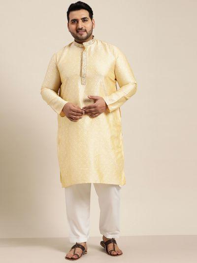 Sojanya (Since 1958), Men's Silk Blend Gold Kurta and Off White Churidar Pyjama Set