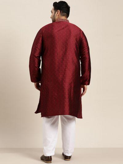 Sojanya (Since 1958), Men's Silk Blend Maroon Kurta and Off White Churidar Pyjama Set