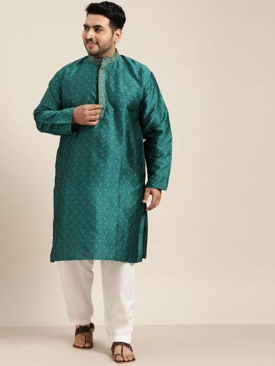 Sojanya (Since 1958), Men's Silk Blend Teal Green Kurta and Off White Churidar Pyjama Set