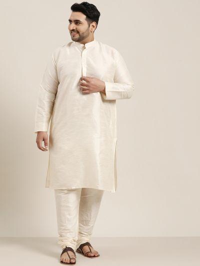 Sojanya (Since 1958), Men's Dupion Silk Off White Kurta and churidaar Pyjama Set