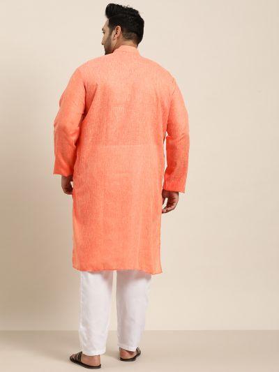 Sojanya (Since 1958), Men's Cotton Linen Orange ONLY Long Kurta