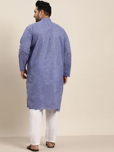 Sojanya (Since 1958), Men's Cotton Linen Indigo Blue ONLY Long Kurta