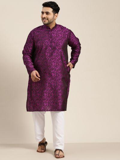 Sojanya (Since 1958), Men's Silk Blend Violet Self Design Only Long Kurta