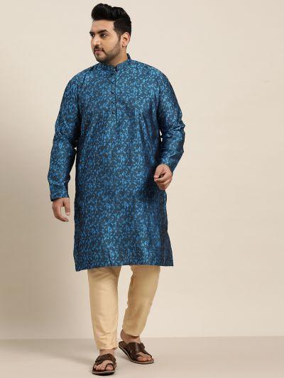 Sojanya (Since 1958), Men's Silk Blend Blue Self Design Only Long Kurta