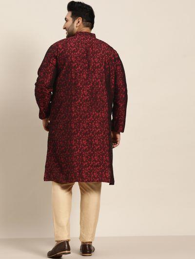 Sojanya (Since 1958), Men's Silk Blend Maroon Self Design Only Long Kurta