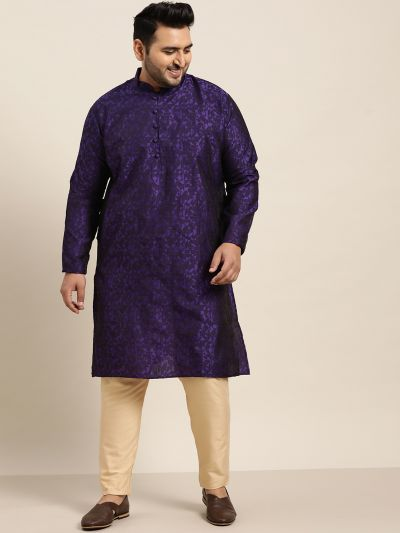 Sojanya (Since 1958), Men's Silk Blend Purple Self Design Only Long Kurta