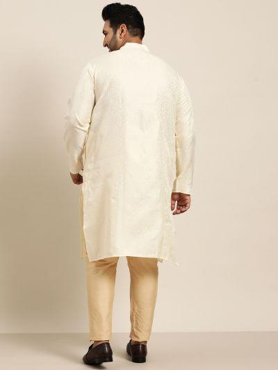 Sojanya (Since 1958), Men's Silk Blend Cream Self Design ONLY Long Kurta