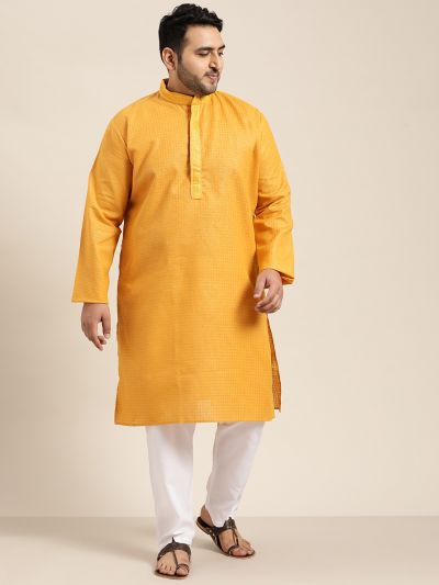 Sojanya (Since 1958), Men's Cotton Mustard checked Kurta