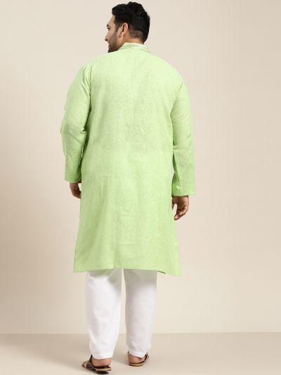 Sojanya (Since 1958), Men's Cotton Sea Green checked Kurta