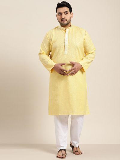 Sojanya (Since 1958), Men's Cotton Yellow checked Kurta