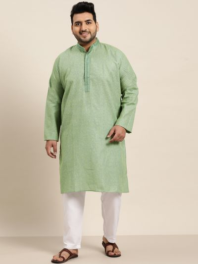 Sojanya (Since 1958), Men's Cotton Dark Green checked Kurta