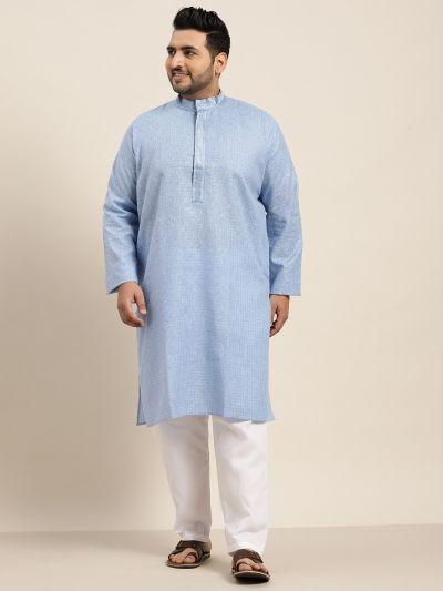 Sojanya (Since 1958), Men's Cotton Sky Blue checked Kurta
