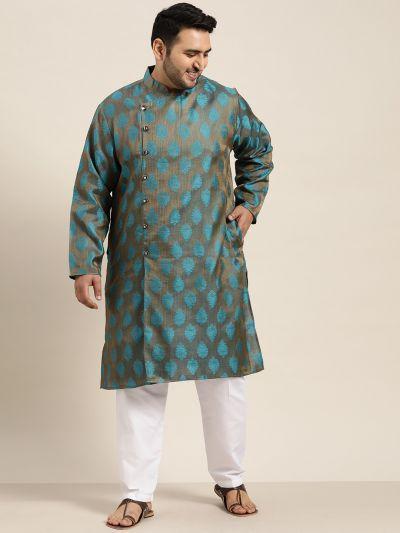 Sojanya (Since 1958) Men's Jacquard Silk Teal Blue Self Design Only Long Kurta