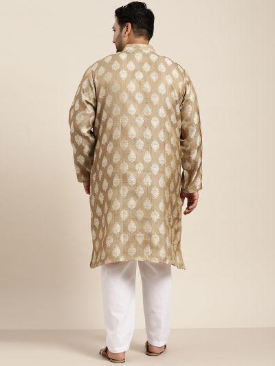 Sojanya (Since 1958) Men's Jacquard Silk Brown Self design Only Long Kurta