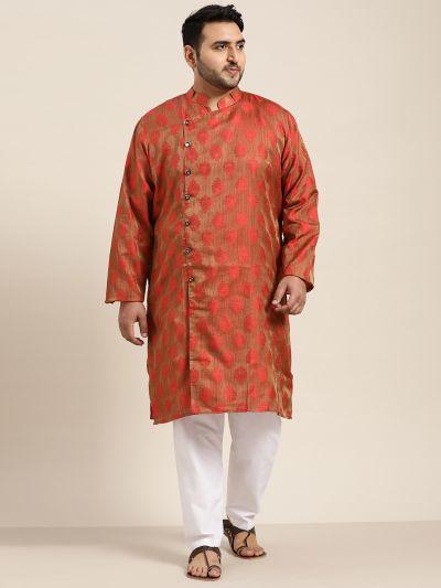 Sojanya (Since 1958) Men's Jacquard Silk Red Self design Only Long Kurta
