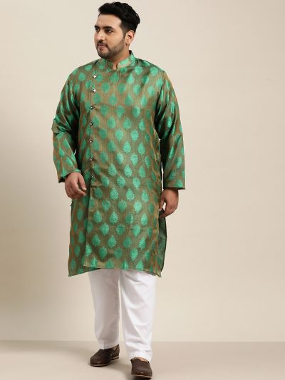 Sojanya (Since 1958) Men's Jacquard Silk Dark Green Self Design Only Long Kurta