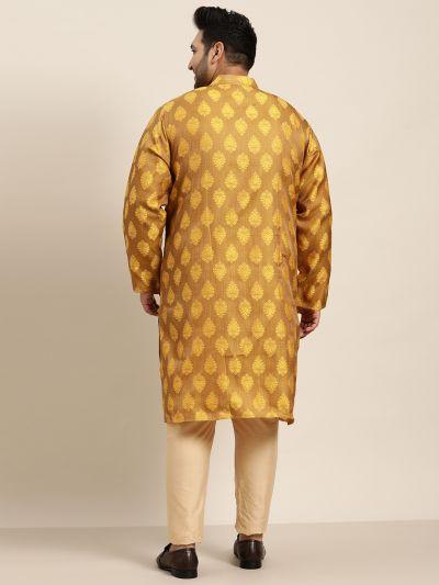 Sojanya (Since 1958) Men's Jacquard Silk Mustard Self Design Only Long Kurta