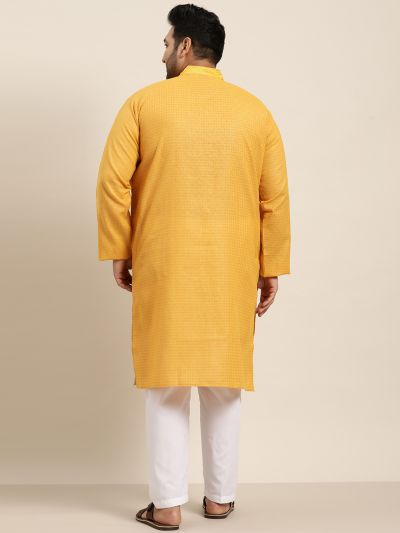 Sojanya (Since 1958), Men's Cotton Mustard checked Kurta with White Churidar Pyjama Set