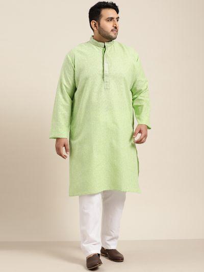 Sojanya (Since 1958), Men's Cotton Sea Green checked Kurta with White Churidar Pyjama Set